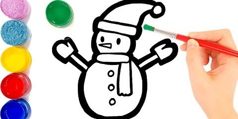 Snowman coloring and drawing for Kids